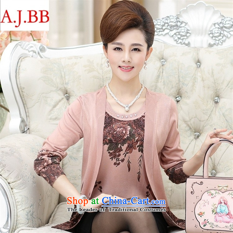 September clothes shops _2015 autumn new_ Older women Knitted Shirt middle-aged moms loose leave two stamp won increase female purple version聽110