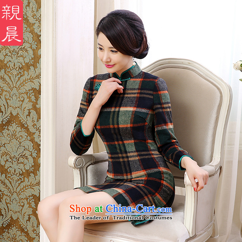 2015 Autumn and winter cheongsam dress daily new retro improved chidori of long-sleeved wool? short skirt women, Chidori grid L