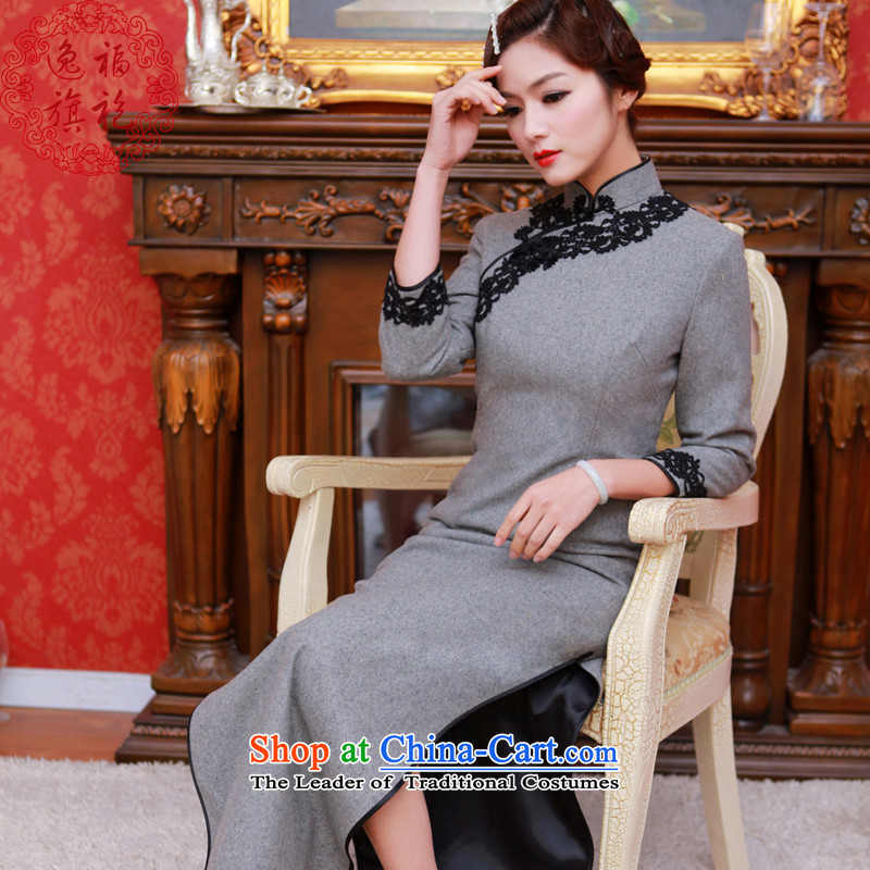 Il well of autumn and winter cheongsam long solid color lace wool? long-sleeved daily retro qipao cheongsam dress light gray聽S 15 day shipping