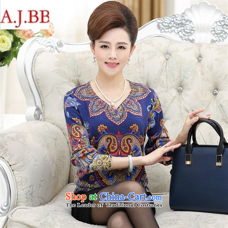 September clothes shops in older women's * autumn replacing large woolen sweater middle-aged moms knitted shirts V-Neck Sweater, forming the stamp orange聽110,A.J.BB,,, female clothes shopping on the Internet