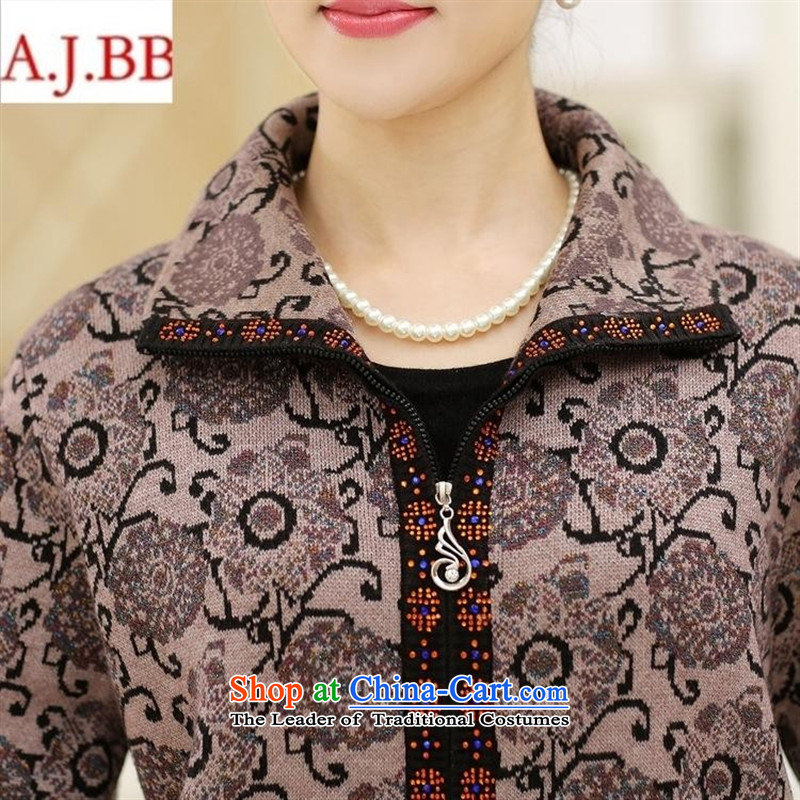 September clothes shops in older women's * autumn and winter jackets middle-aged moms with large zippered lapel Sweater Knit wool cardigan female gray聽110,A.J.BB,,, shopping on the Internet
