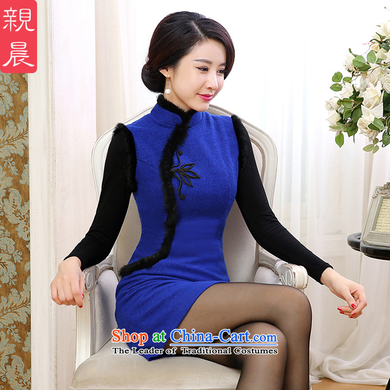 The pro-am cheongsam dress classic 2015 Fall_Winter Collections New Sleeveless Stylish retro short of improved Sau San dresses female blue�L