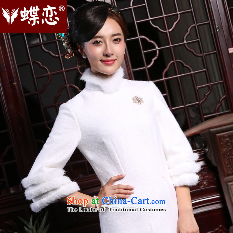 The Butterfly Lovers 2015 new autumn and winter retro style cheongsam dress daily improved gross for short-cheongsam dress white - New product pre-sale 7 days?XXL