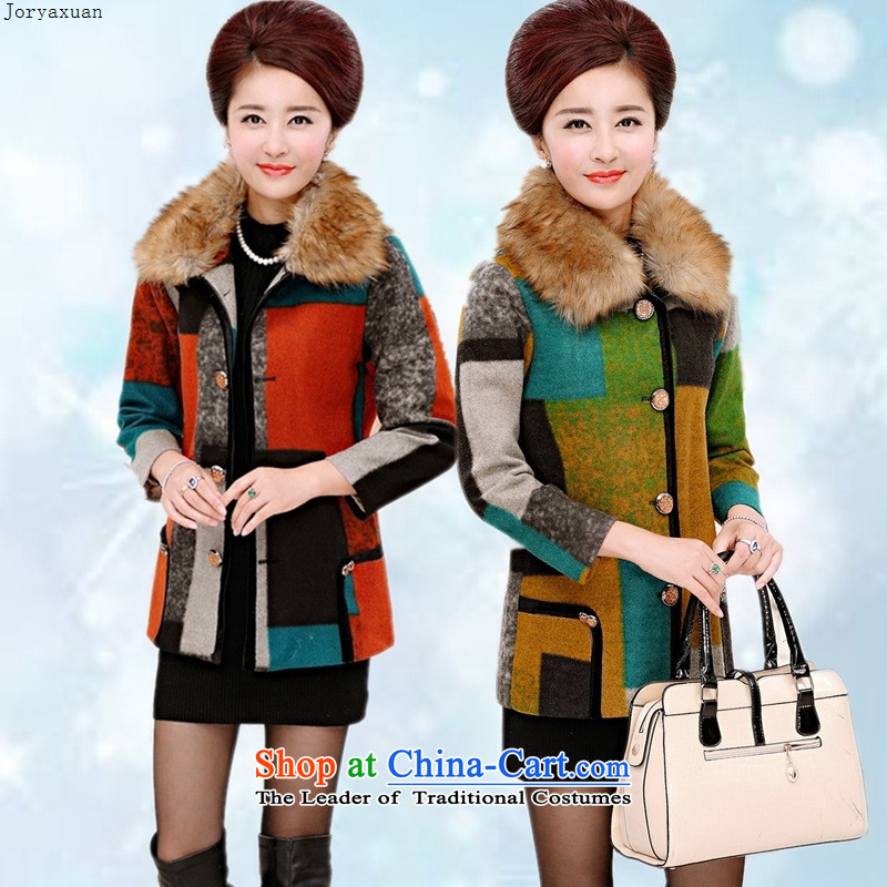 Web soft trappings of older women fall new coats of middle-aged and stylish mother? Boxed stitching a yellow?3XL Jacket