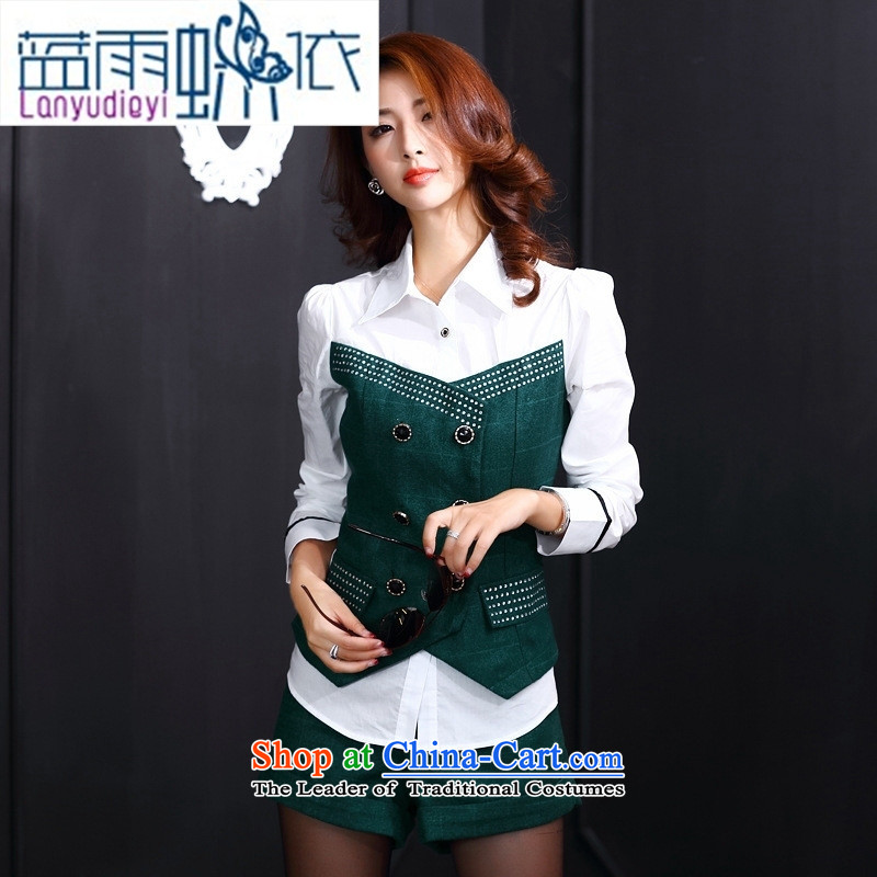 September Girl Store European site with new autumn 2015 Sau San video thin stylish round-neck collar long-sleeved blouses temperament and sexy shorts two kits green M