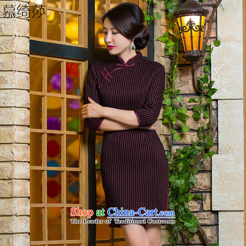The cross-sa Initial 2015 autumn and winter knitted dresses improved qipao gross? skirt new 7 cuff streaks on the elderly in the qipao mother QD299 dark red L