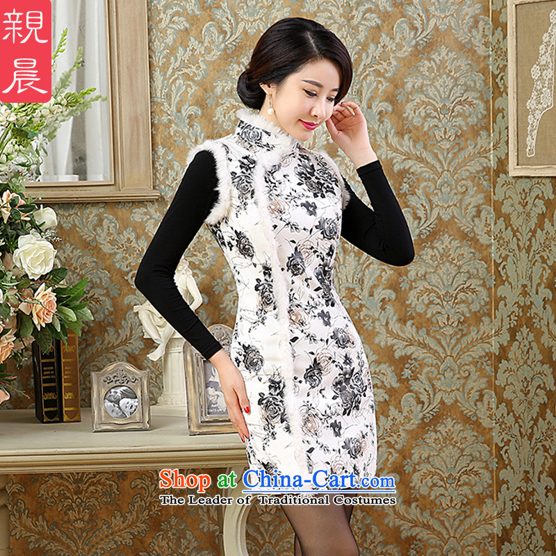 Qipao skirt Fashion 2015 autumn and winter improved gross for day-to-day new retro short of Sau San, a cotton dress photo color?3XL female