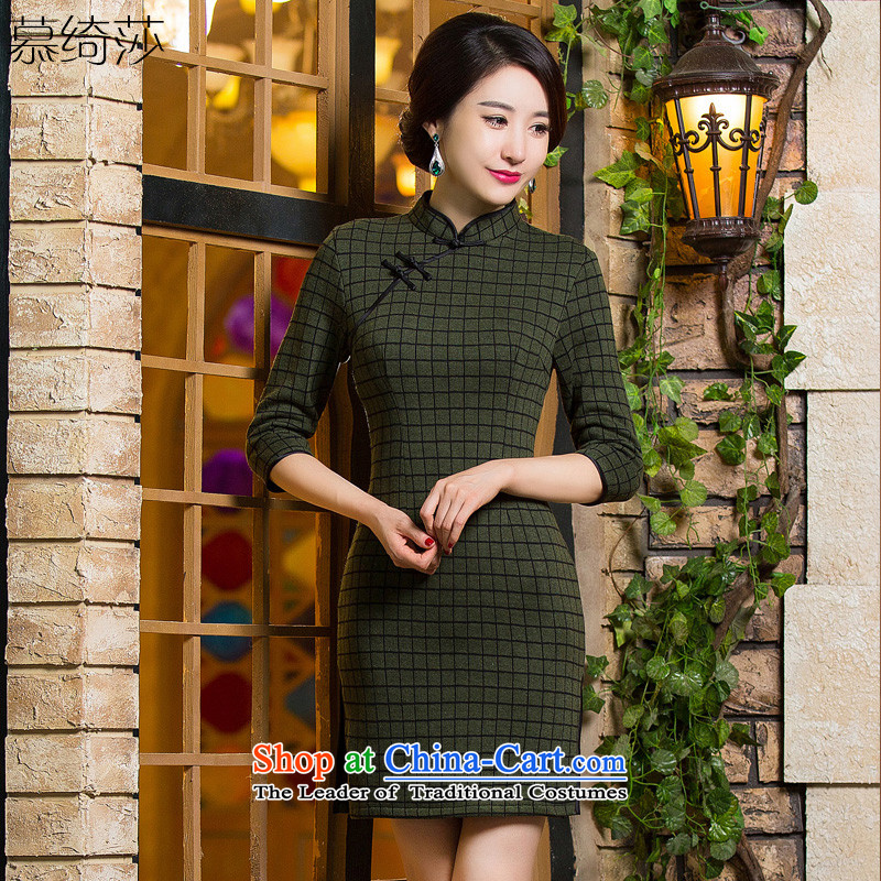 The cross-sa�15 Green Grid Fall_Winter Collections qipao improved retro style qipao_ thick skirt new knitting latticed gross燪D300 qipao?燗rmy Green燲L