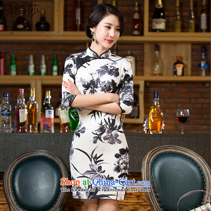 The cross-sa ink bamboo聽2015 improved load ink painting qipao qipao autumn skirt new stylish retro Ms. cheongsam dress聽T11041聽picture color聽XL