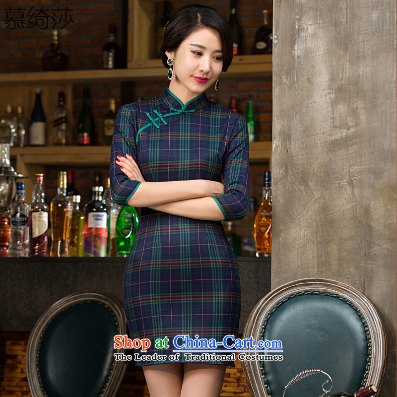 The cross-SA- 2015 Grid qipao chord with retro style grid autumn cheongsam dress new improved cheongsam dress of 7 to 2 S LATTICED T55143 cuffs