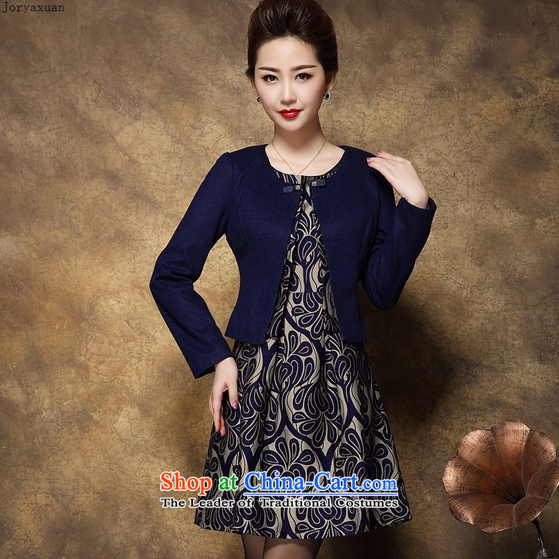 Web soft clothes large high-end 2015 middle-aged female Mother New) Autumn two kits wool dresses? Tibetan blue L
