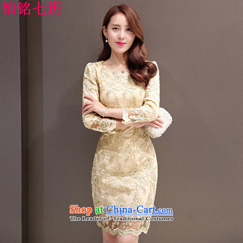 Kam Ming Yue qipao autumn seven lace dresses?autumn 2015 new for women luxury Lace Embroidery video thin sexy in long dresses cheongsam dress khaki?L