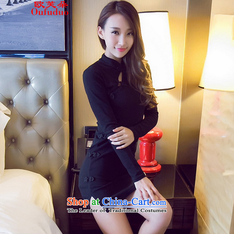 The OSCE to make 2015 a new stylish retro autumn sexy beauty package and a mock-neck cheongsam dress 6915 female black燬