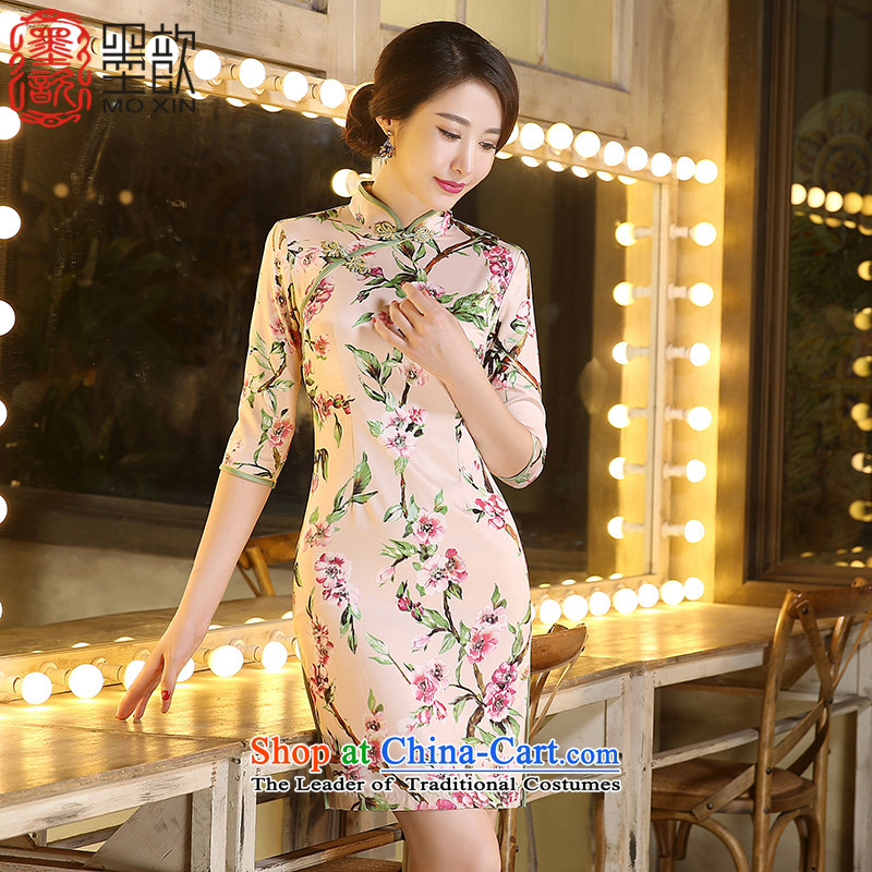 The gel Mui 2015 new 歆 of qipao autumn in long Stylish retro China wind cheongsam dress cheongsam dress ZA3C03 improved picture color XL