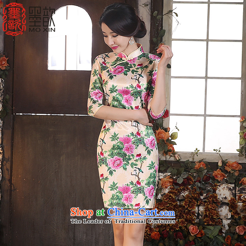 Ink 歆 picking Xuan retro style qipao 2015 improved in the autumn skirt cuff retro style qipao Ms. cheongsam dress ZA3G04 picture color S