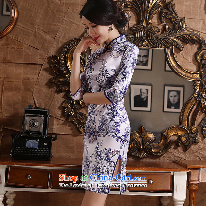 The Magic Park New 歆 cheongsam dress autumn replacing Ms. China wind porcelain qipao retro style qipao improved dresses ZA3G06 Picture Color Ink (MOXIN 歆 XXL,) , , , shopping on the Internet
