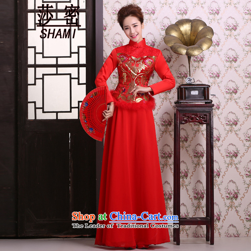 Elizabeth key marriages bows services 2015 Winter Package Folder cotton long long-sleeved red cotton retro qipao cheongsam with     RED L