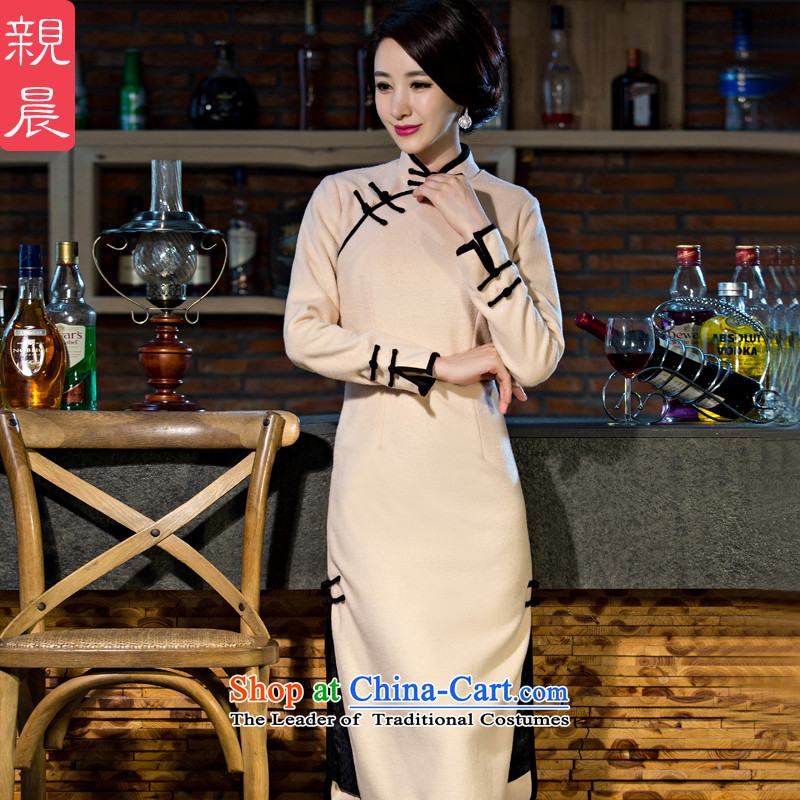 The cheongsam dress 2015 Fall_Winter Collections New Stylish retro improved long long-sleeved Ms. gross? The skirt beige�L