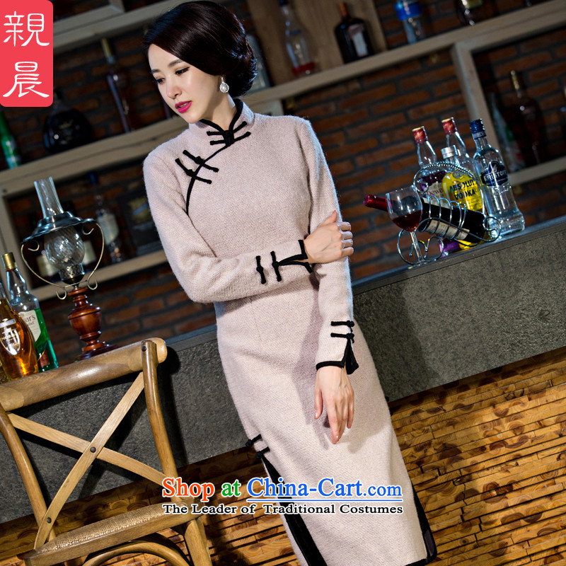 2015 Autumn and winter cheongsam dress the new improved retro-to-day long-sleeved stylish upmarket Ms. gross? dresses long pale pink purple�L