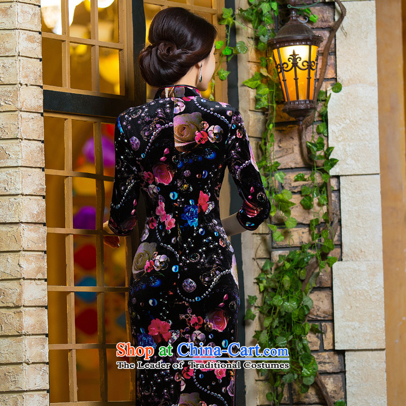 Dan聽2015 Women's new smoke of Chinese cheongsam dress retro improved Mock-neck scouring pads Sau San 7 cuff dresses Figure Color聽S, Dan Smoke , , , shopping on the Internet