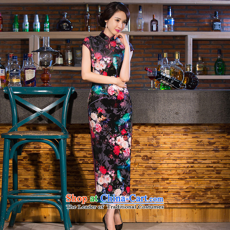 Take the new figure female Chinese elegant Stretch Wool improved long qipao Sau San collar antique dresses figure color聽L