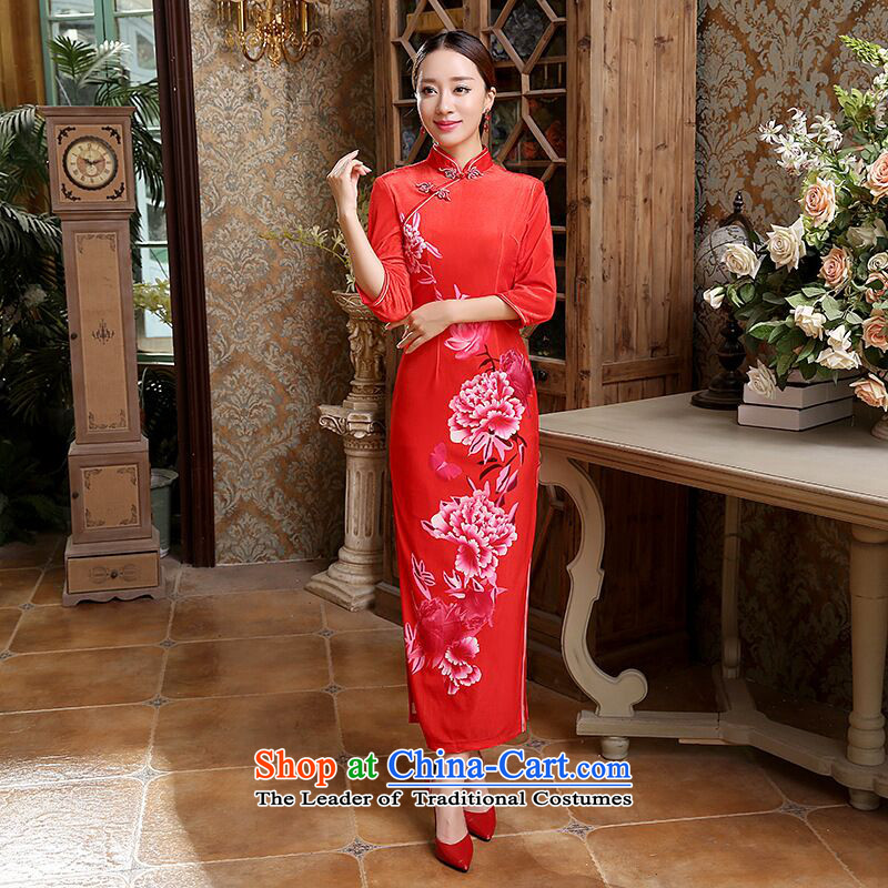 Dan smoke autumn Women's clothes Chinese classical Stretch Wool seven gold sleeve length cheongsam bows services back door dresses RED M
