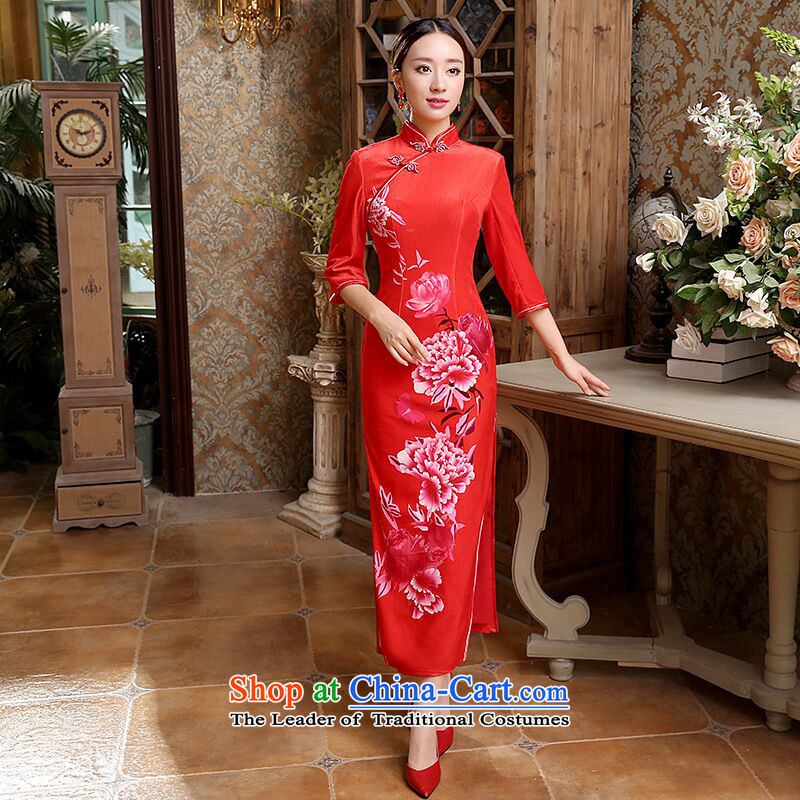 Floral Autumn Women's clothes Chinese classical Stretch Wool seven gold sleeve length cheongsam bows services back door dresses red燬