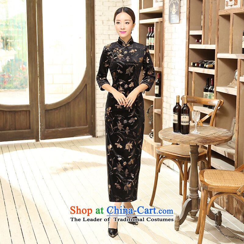 Dan?Chu replace Ms. smoke 2015 Chinese classical Stretch Wool qipao seven gold cuff cheongsam dress as long Sau San map color?M