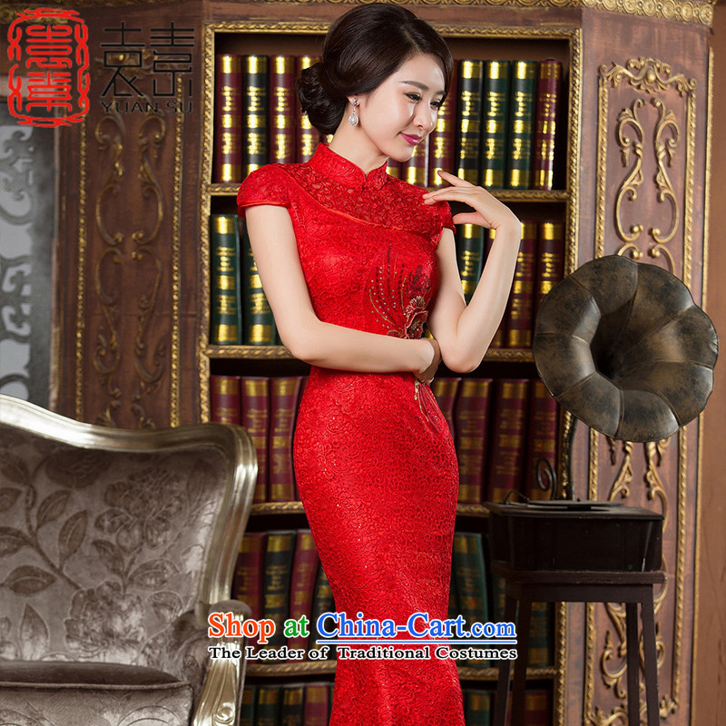 Yuan of?autumn 2015 improved qipao lady with madame dress new bows services water-soluble Ms. lace crowsfoot skirt Chinese qipao gown long?HY902?RED?XL