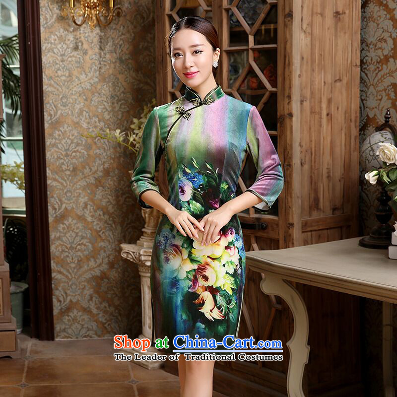 Find new women's Sophie improved cheongsam dress elegant Chinese qipao Sau San scouring pads short seven cuff dresses Figure�L color