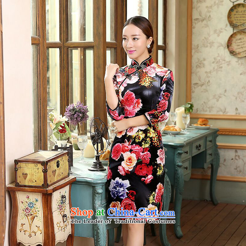 It new women's clothes Autumn Chinese qipao velvet collar poster improvement of 7 to Sau San cuff short cheongsam dress Figure Color燲L