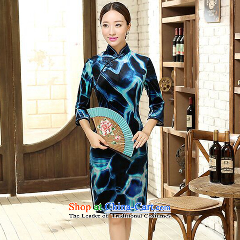 Dan聽Chu replace Ms. smoke 2015 New Chinese improved collar Stretch Wool seven short-sleeved cheongsam dress Figure Color聽S
