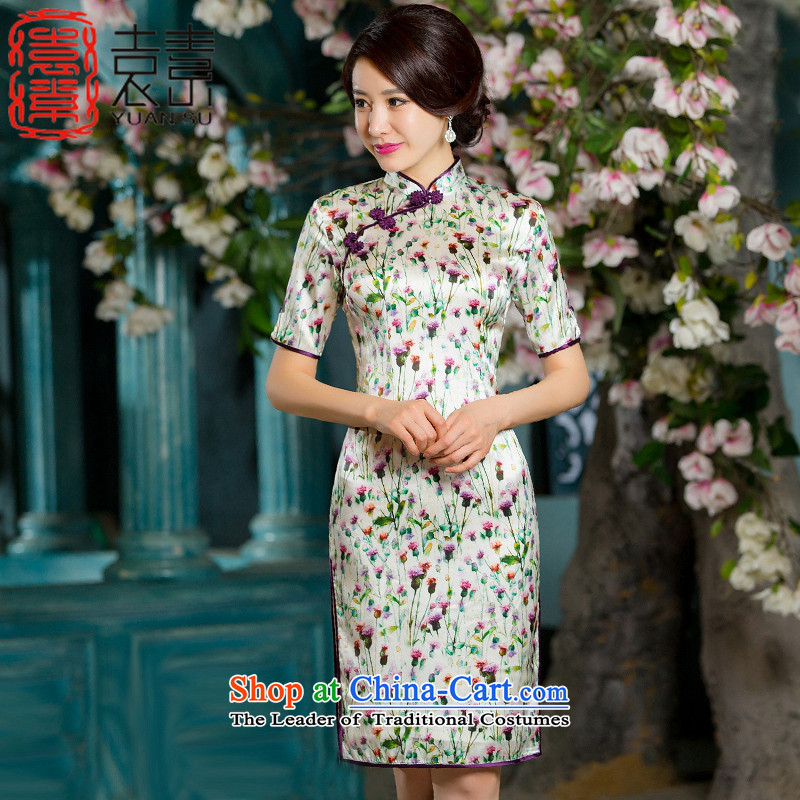 Mr Yuen Ying of pixel�15 New China wind female heavyweight Silk Cheongsam cheongsam dress autumn load improved retro double in the Cuff qipao HY667 Ms. picture color燲L