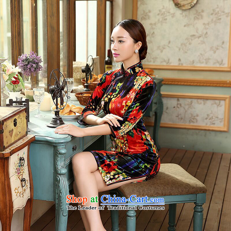 Take the new figure female elegant Stretch Wool Chinese enhancement of Sau San short sleeves in cheongsam dress Figure�2XL color