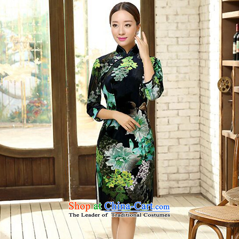 It new fall for women Chinese Poster velvet elegant improved short-sleeved collar in cheongsam dress Figure�L color