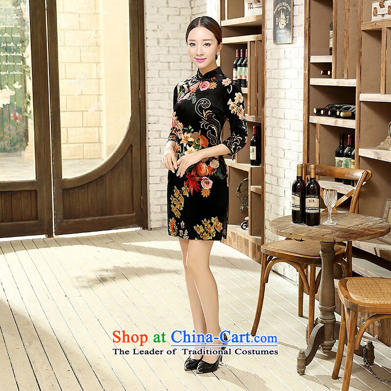 Dan smoke聽Women's clothes autumn 2015 Chinese improved retro qipao Sau San 7 cuff velvet cheongsam dress figure color聽M Dan Smoke , , , shopping on the Internet