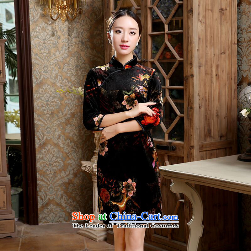 Dan smoke爁all 2015, Tang dynasty women cheongsam Chinese classical Stretch Wool short-sleeved as of 7 qipao map color燤
