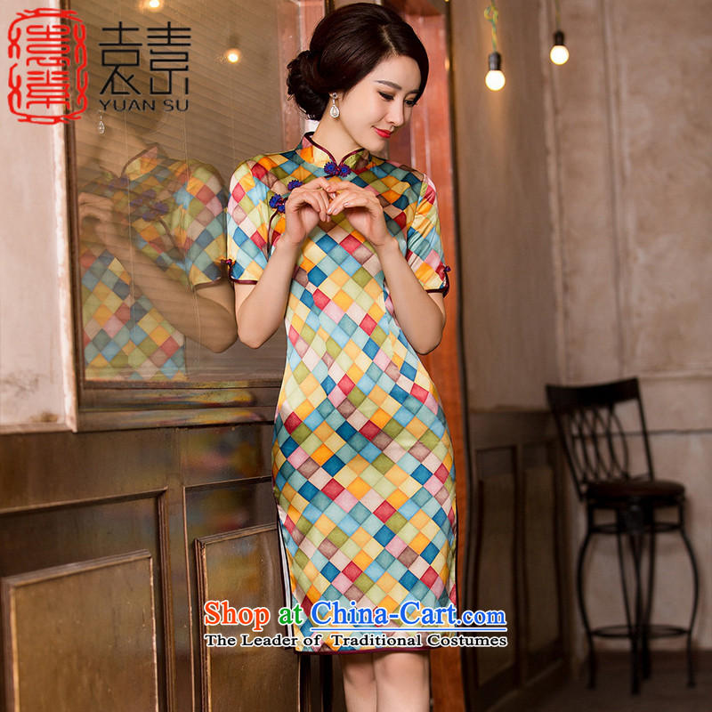 Mr Yuen so swing wooden�15 retro heavyweight silk cheongsam dress autumn load improved new qipao herbs extract cheongsam dress in double燞Y657 cuff爌icture燤