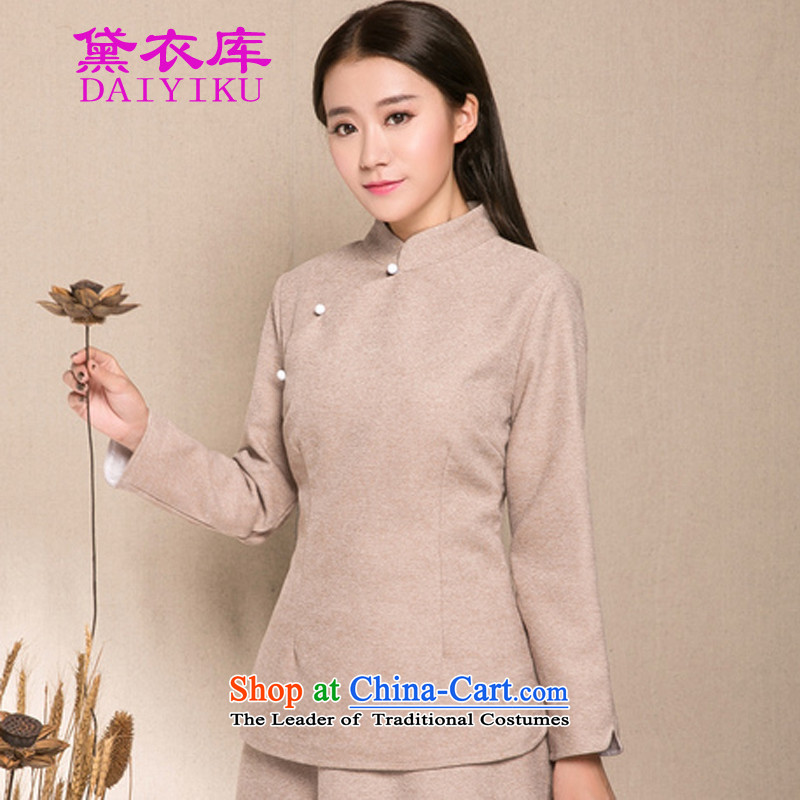 Doi Yi Library 2015 autumn and winter new chinese women China wind of ethnic Han-Tang dynasty improved gross shirt? Short qipao apricot燲L