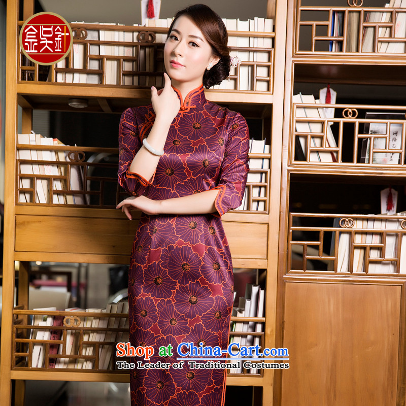 Kim wu pin long Silk Cheongsam autumn 2015 new women's daily with high-end retro long skirt style qipao Foutune of deep red?M