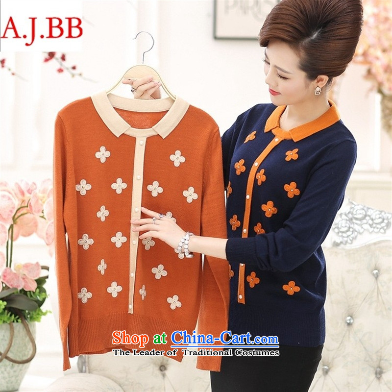 September clothes shops _ autumn and winter in the new Elderly Women New autumn large boxed loose mother Dressed Dolls, forming the basis for a sweater woolen sweater Black聽115