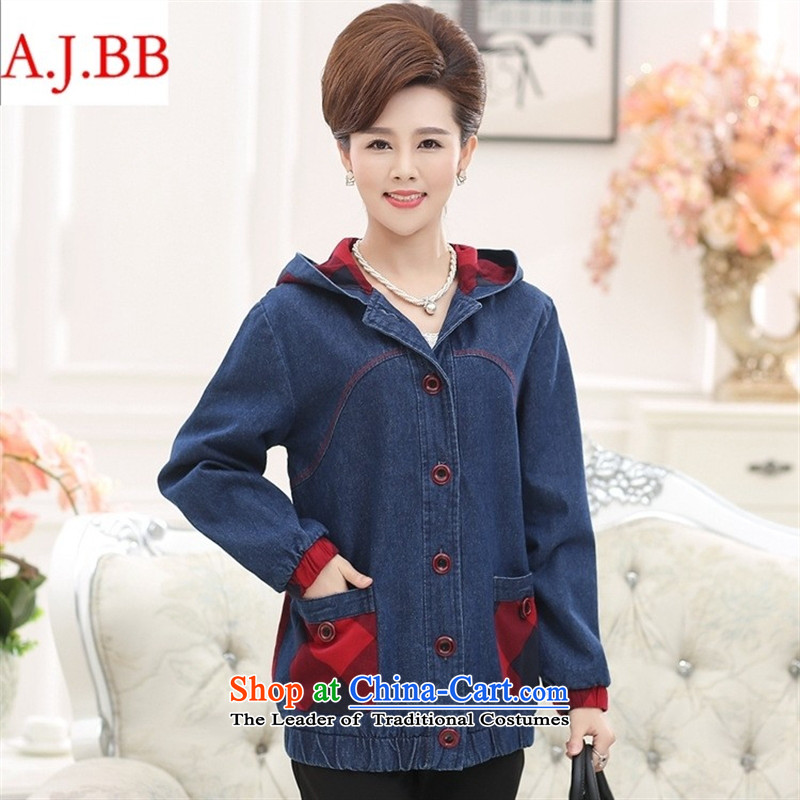 September clothes shops fall in New _2015 Older Women's autumn and winter jackets MOM pack large middle-aged cowboy HOODIE聽XXXXL color picture