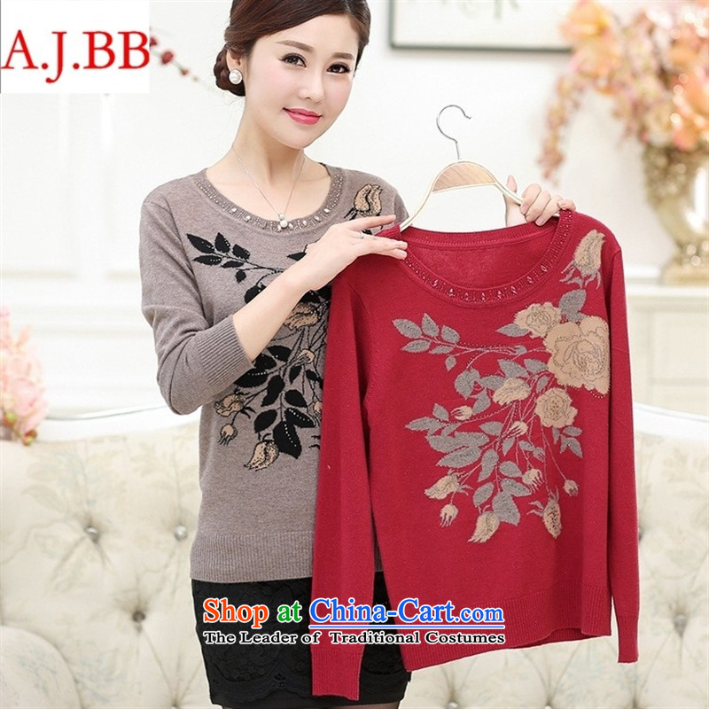 September clothes shops * autumn and winter in the new large older women's mom pack sweater thick round-neck collar jacquard forming the Netherlands warm sweater and color聽115,A.J.BB,,, shopping on the Internet