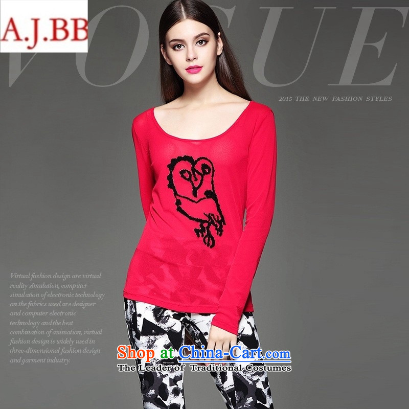 September clothes shops _ European site autumn and winter female new stylish animal stamp Sau San video stereo thin red T-shirt燤
