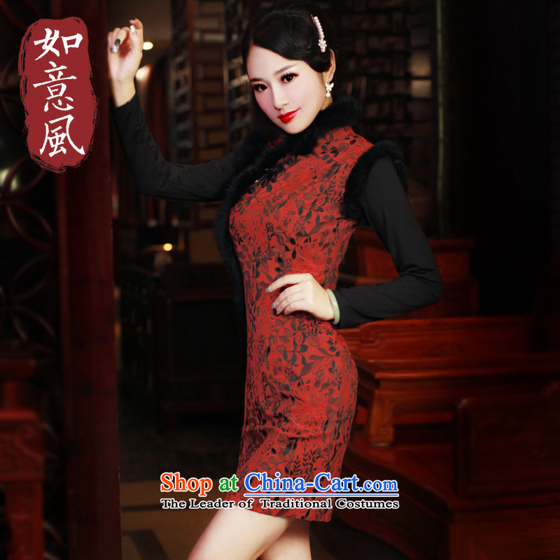 After a new wind 2015 Winter Sweater for improvement and the relatively short time of Qipao warm cheongsam dress by by red?XL