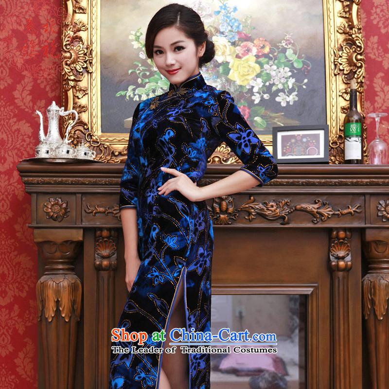 Well 2015 really velour Yat cheongsam dress in long-sleeved long cheongsam with high-end customized autumn dress banquet cheongsam blue聽S 15 day shipping