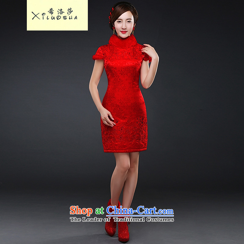 Hillo XILUOSHA Lisa _2015_ The new bride qipao thick bows services gross for wedding dress short of Sau San video thin red autumn and winter female red燣