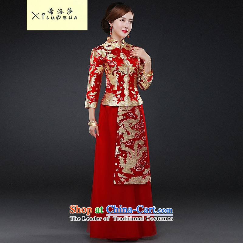 Hillo XILUOSHA Lisa _qipao autumn bride_ long-sleeved gown Wedding dress-soo Chinese kimono marriage、Qipao Length of bows services 2015 new winter RED?M