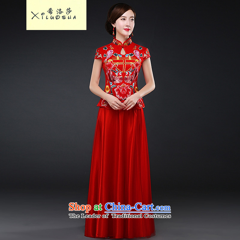 Hillo Lisa _XILUOSHA_ Bride cheongsam dress autumn 2015 new bride dress Chinese boxed wedding gown bride marriage bowsбвQipao Length of service red?L