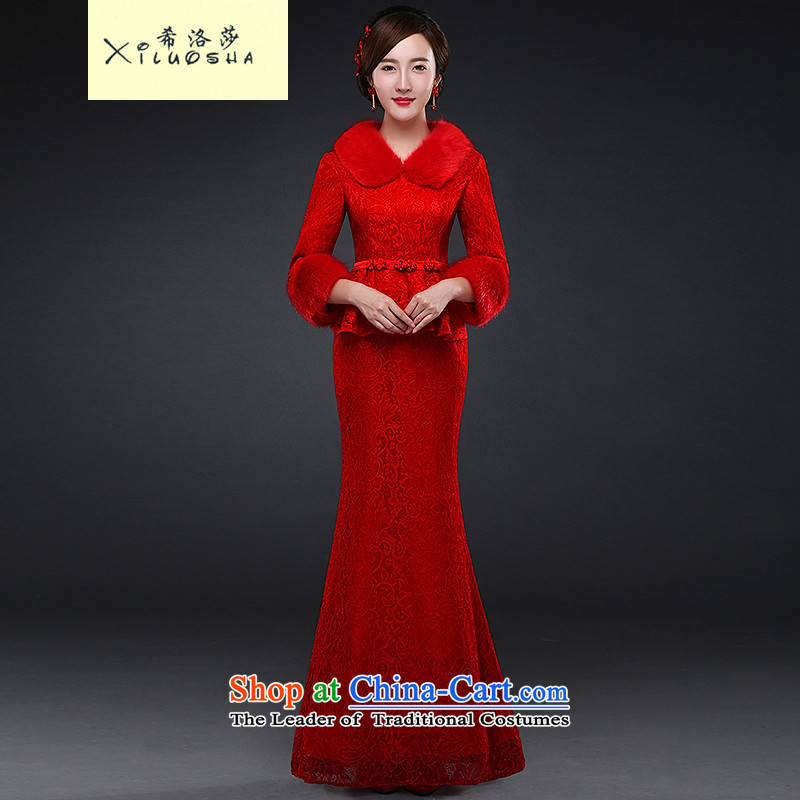 Hillo XILUOSHA Lisa (long-sleeved QIPAO) Married 2015 new bride cheongsam dress toasting champagne winter clothing lace crowsfoot dress Chinese wedding dress autumn red�L